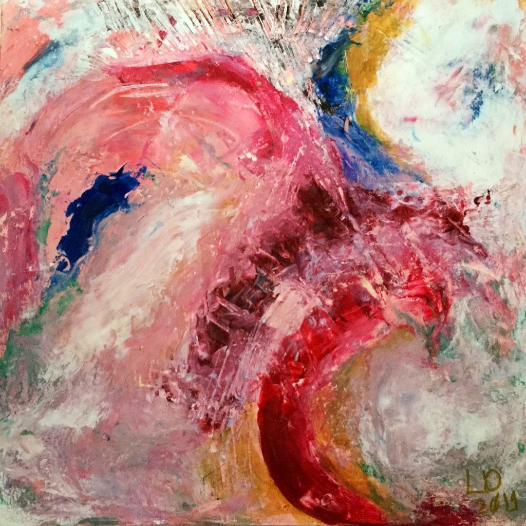 Dans les roses / Peinture Mix tech sur toile / 60 X 60